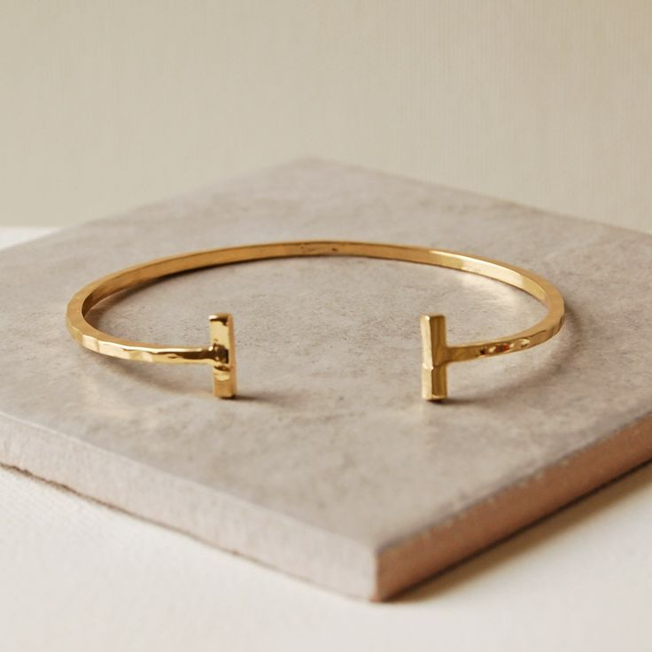Hammered Gold Bar Bangle �15.00 - Bracelets and Bangles - Contemporary Bangles Buy, Engraved Silver Jewellery, Personalised Mens, Womens Gifts, Online, UK