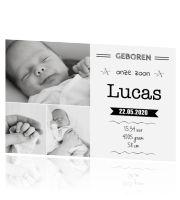 Stoer #geboortekaartje met #typografie en eigen foto's. #fotokaart