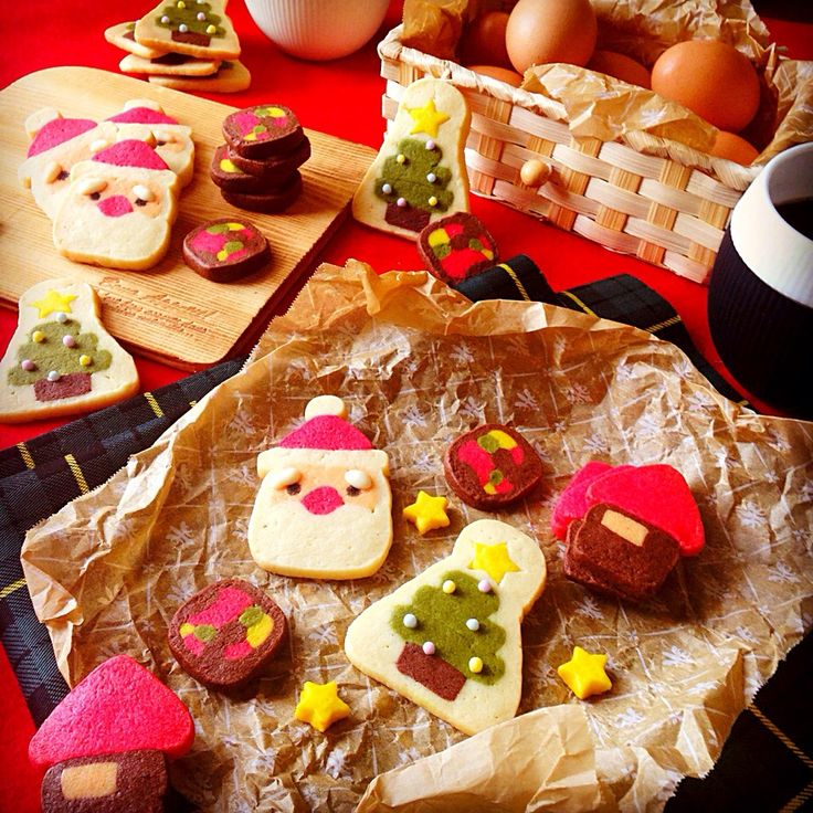 クリスマスお菓子☆サンタとツリーのアイスボックスクッキー