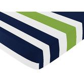 Found it at Wayfair - Navy Blue and Lime Green Stripe Fitted Crib Sheet