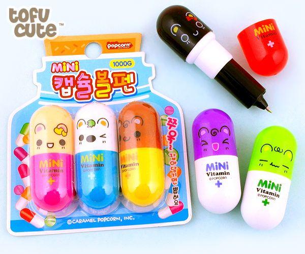 Buy Kawaii Animal Vitamin Pill Retractable Pen Set of 3 at Tofu Cute