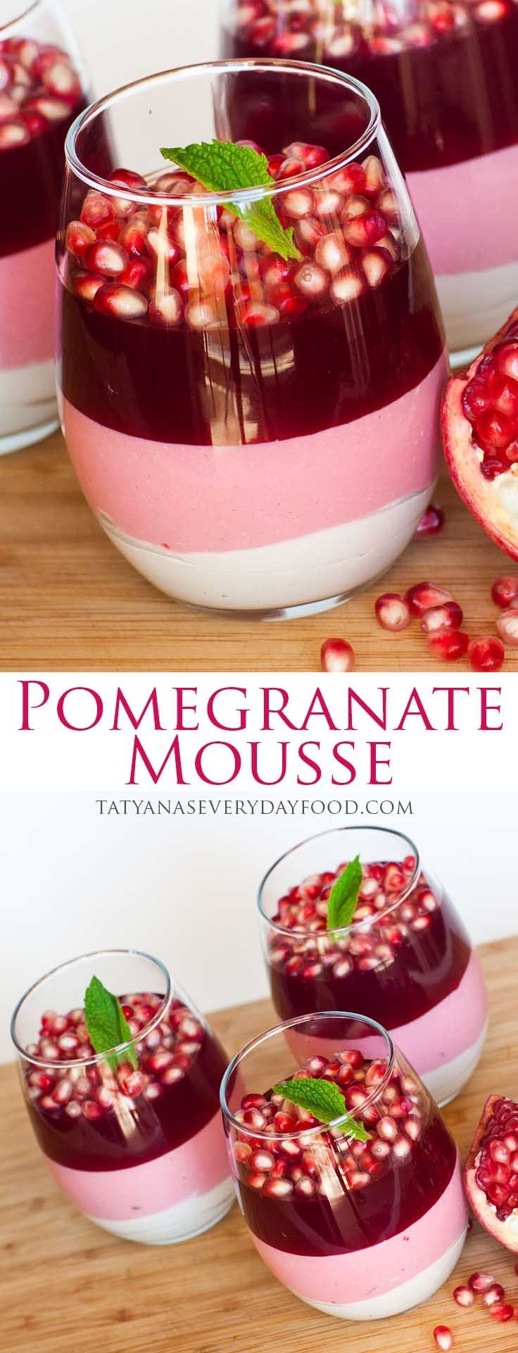 Wat een mooi en lekker toetje! En volgens mij niet eens zo heel lastig te maken. Triple Layer Pomegranate Mousse Dessert - No-Bake! With video recipe by Tatyana's Everyday Food