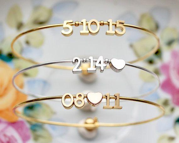Armreif Datum Datum Armreif Silber Gold Hochzeit von TomDesign