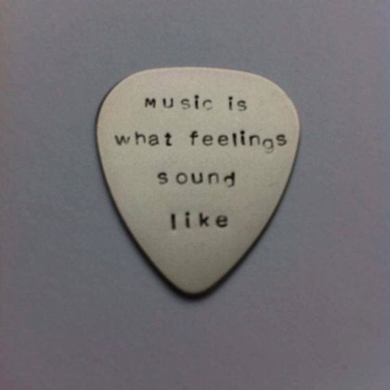 Hand stamped personalised metal plectrum - Music is what feelings sound like - Music Quote #music