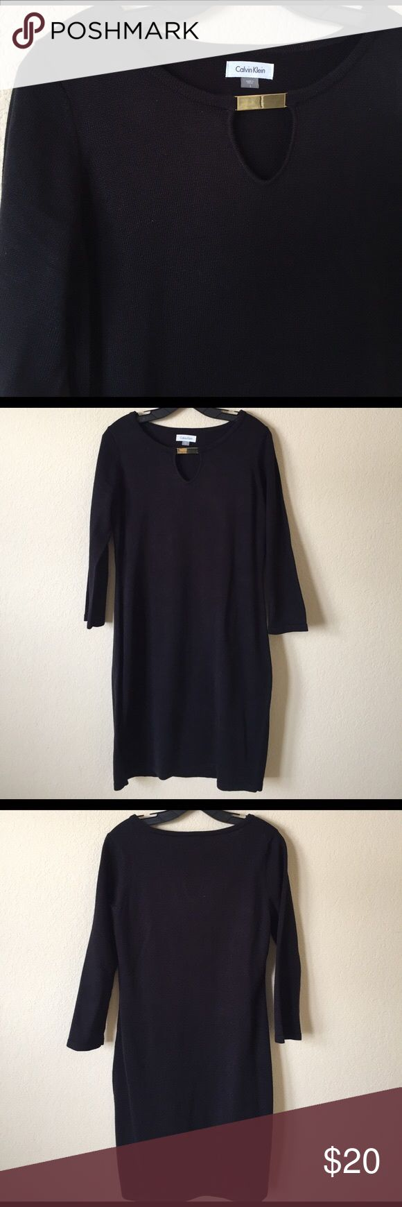 "Calvin Klein Keyhole Sweater Dress Calvin Klein Keyhole Sweater Dress  Like new condition! Worn one time only. Super chic and comfy. Can really be worn in any season. 3/4 sleeves. Bust measures 20"" across. Length from top of shoulder is 38 size L Calvin Klein Dresses"
