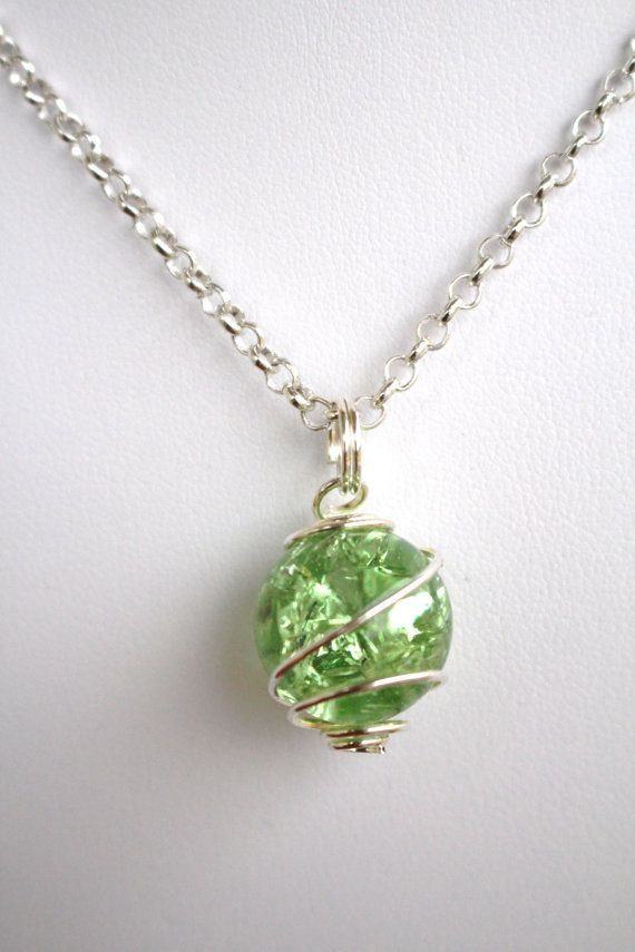 Green Crackled Baked Glass Marble Pendant Necklace by myrockart, $12.99