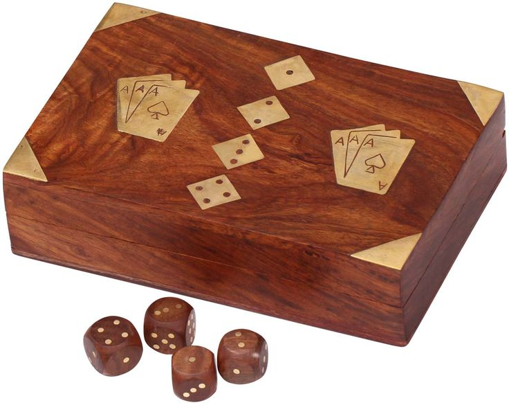 """Tricky Box- Handmade 7"""" Wooden Playing Cards and Dice Storage Box with 3 Slots & Brass Inlays - Buy in Bulk Wholesale"""