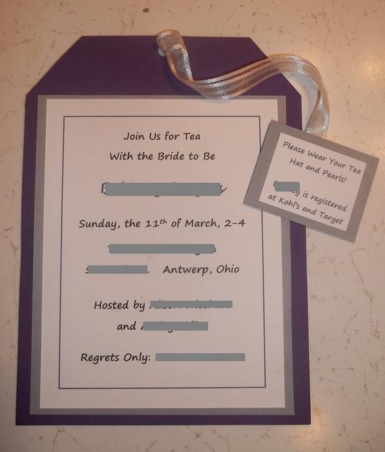 Tea Party Bridal Shower Inivitations