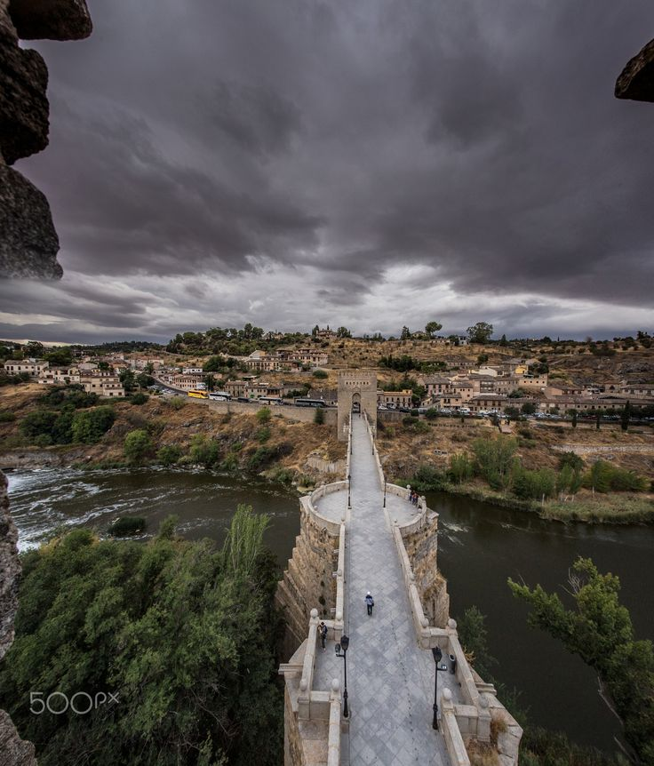 Toledo view from Gate - In Toledo watching the river and clouds from top of Bridge Tower