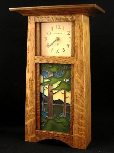 arts and crafts clock with tilework