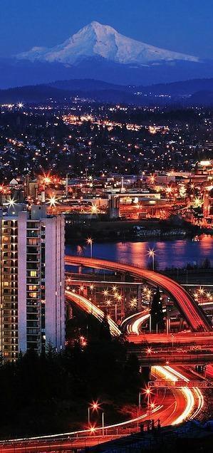 Mount Hood, the Willamatte River, Portland Oregon, USA , from Iryna