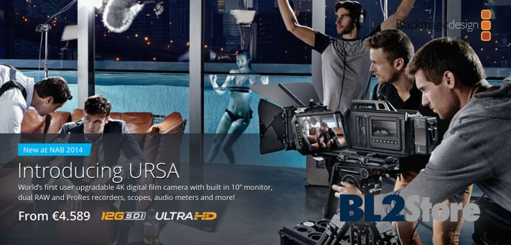 "NAB2014 - Blackmagic Design ha presentato la Camera URSA 4K una production camera modulare con sensore 4K Super 35mm con global shutter, schermo da 10.1"" (1920x1200) e due display touch da 5"" (800x480). La costruzione modulare permetterà in futuro di cambiare sensore."