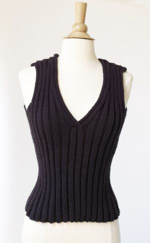 Fitted Top-- would make a great vest for winter, perhaps in the gray alpaca Plymouth yarn in my stash...