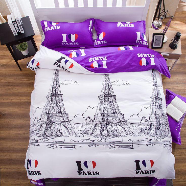 >> Click to Buy << Romantic Eifel Large Bedding Set 4Pcs Set Duvet Cover+Sheet+2 Pillow Case Sanding Size King Queen Printing Bed Sets Home Textile #Affiliate