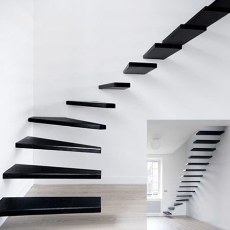 Minimal Staircase Unique staircase designed by Ecole for modern apartment in Paris.