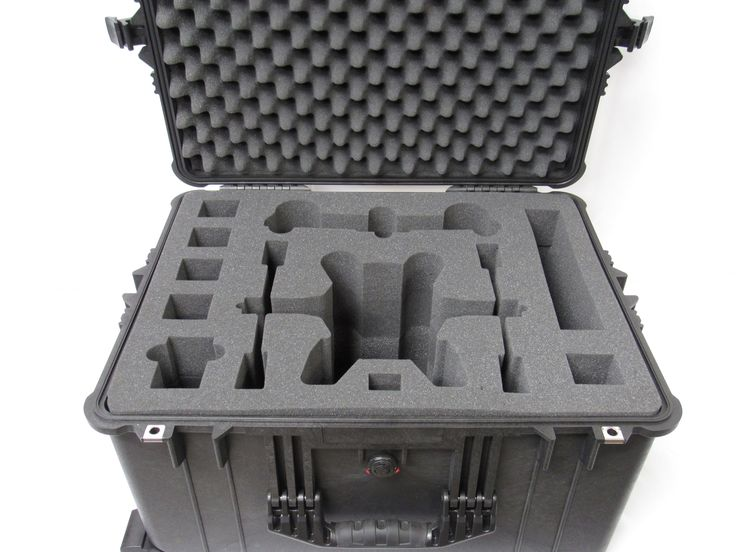 """This insert is made of polyurethane foam to fit the Pelican Pelican case 1620. Includes: - Convoluted (Egg Crate) Lid Foam - Center Pad With Drone Cutout (Made up of 4 x 2.50"""" Layers of Foam) - Base P"""