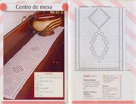 Mais três sugestões para crochetar: Caminho de Mesa em Crochê Filé!!! Bons crochês...pessoal!!