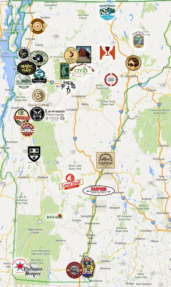 Vermont Breweries Map Vermont Brewery Trail. Please check their site for the most  Vermont Breweries Map