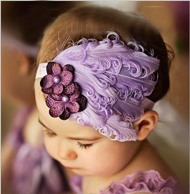 Piuma del bambino della fascia delle ragazze hairbands fiocco rosa dei capelli di Natale legame Fasce