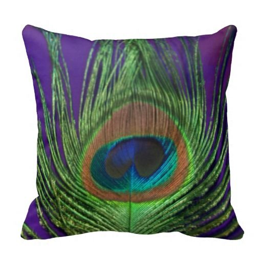 Purple Foil Single Peacock Throw Pillows
