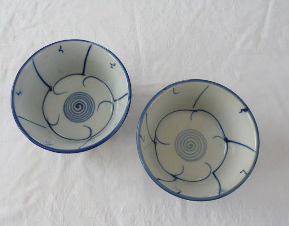 1960s Vintage Thick Ceramic Hand Painted Rice Bowls by BYGONERA