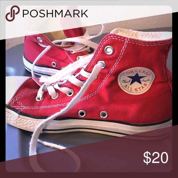 Converse girls Great condition girls size 3 red high top converse Converse Shoes Sneakers