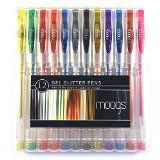 #10: Gel Glitter Pens - 12 colored pens with glitter ink by moogs. With smooth even flow these high quality pens won't bleed. Each set comes with a protective case/stand and exclusive free wallpaper for mobile devices. MAKE AWESOME ART THAT POPS!