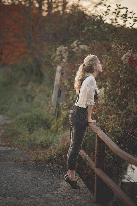 Overalls by the riverbend. I really love this photo