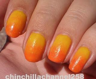 DIY fade effect nails: Faded Nails, Diy Faded, Based Coats, Sunsets Nails, Candy Corn, Gradient Nails, Nails Polish, Makeup Sponge, Sun Nails