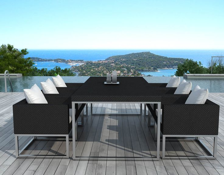 salon de jardin design 1 table 6 fauteuils sur design tische und salons. Black Bedroom Furniture Sets. Home Design Ideas