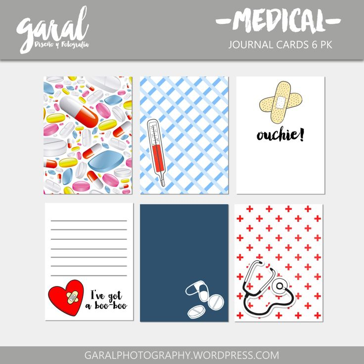 MEDIC Journal Cards 6 pack, 3x4 printable pocket cards, DOCTOR pattern prints, fresh colors journaling spots by marcegaral on Etsy