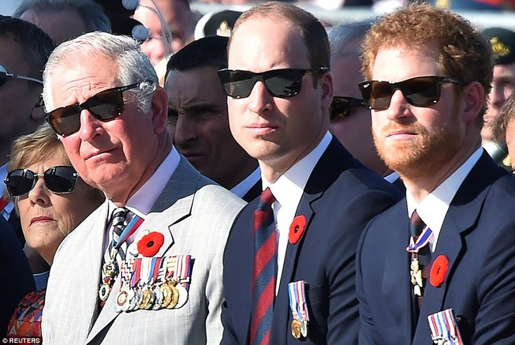 Prince Charles, Prince William, and Prince Harry at a commemoration ceremony at the Canadi...