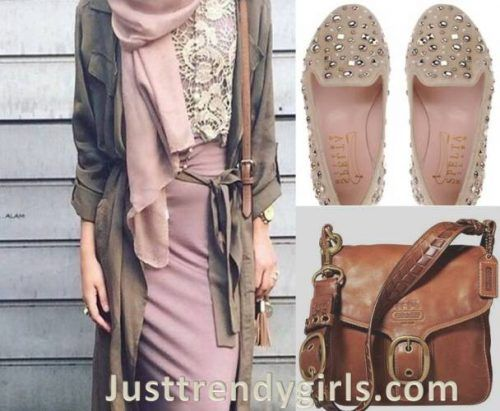 blush-hijab-outfit- Hijab outfits with matching bags and shoes http://www.justtrendygirls.com/hijab-outfits-with-matching-bags-and-shoes/