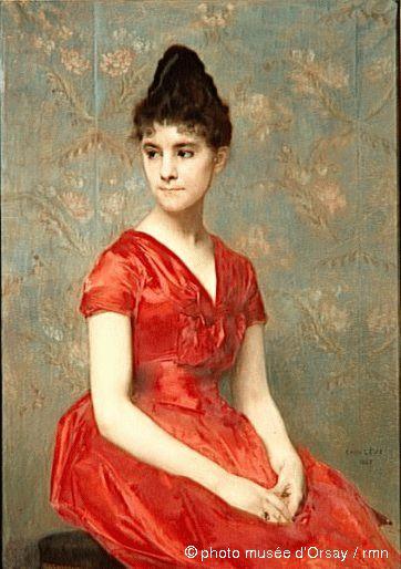emile l vy jeune fille en robe rouge sur fond de fleurs en. Black Bedroom Furniture Sets. Home Design Ideas