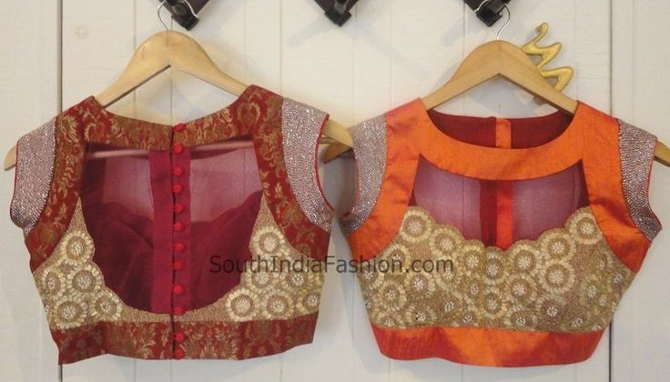 Beautiful and stylish saree blouse design with  Liquid metallic beaten work on a sheer tulle, sequined short sleeves and  buttons on the back.