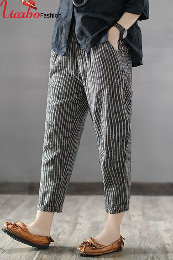 8848708cb7dbd Plus Size Women Striped Cotton Linen Harem Pant High Waist Baggy Casual  Trousers in 2019