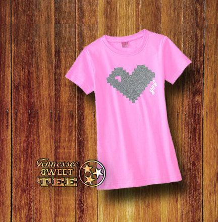 Girl's Pink Gaming Tshirt Heart Shirt Pink by TennesseeSweetTee