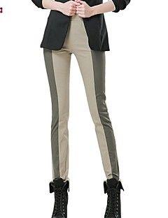 Women's Green/Beige Straight Pants , Work/Plus Sizes