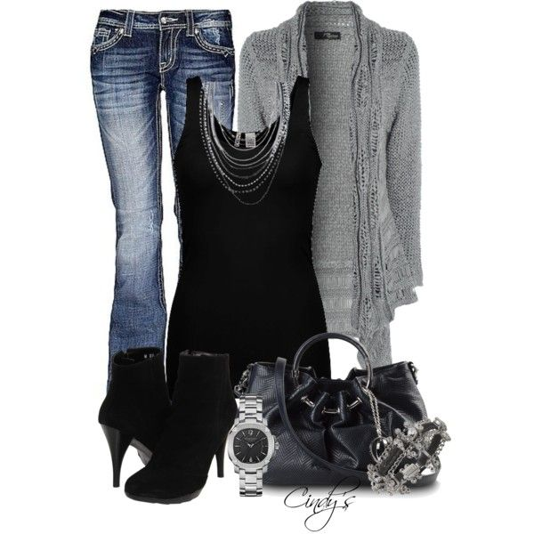 """""""Grey and Black"""" by cindycook10 on Polyvore"""
