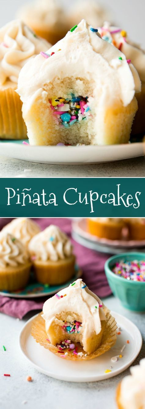 How to make party piñata cupcakes filled with sprinkles! Easy to make and ready for any celebration. Recipe on http://sallysbakingaddiction.com