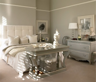 Very calming colors.  Love the French style dresser---great color too.