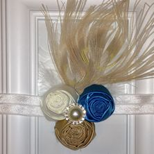 Peacock's Plume -  Ivory, Royal Blue and Gold
