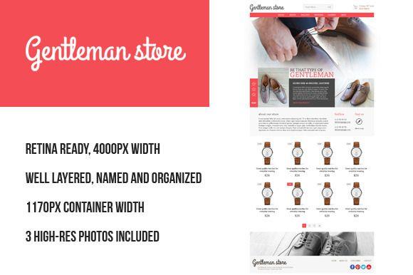 Gentleman Store PSD retina-ready by Knofl store on @creativemarket