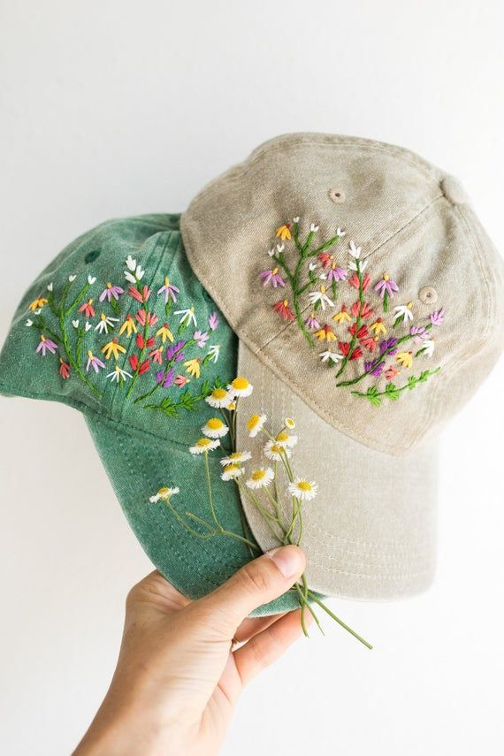 Digital Download Mire Made Embroidery Pattern Make Your Own Embroidered Hat Wildflower Desig Embroidery Patterns Hat Embroidery Embroidery Flowers Pattern