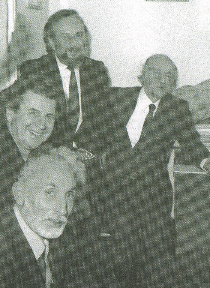 4 great Greeks  (from left): actor Manos Katrakis, composer Mikis Theodorakis, poet Yiannis Ritsos and poet Odysseas Elytis