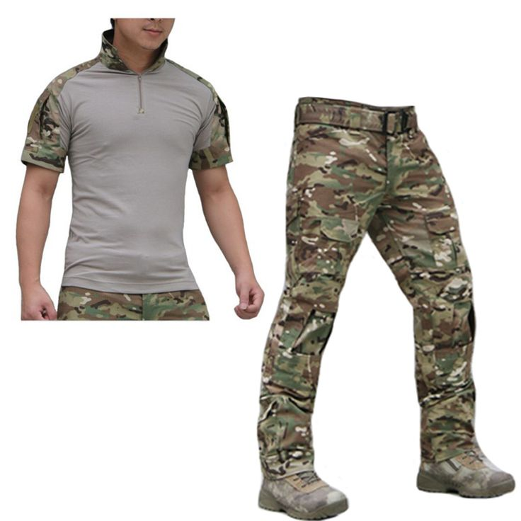 Summer Outdoor Tactical Uniform Camouflage Suit Men Army Short Combat Shirt &Cargo Pants Paintball Hunting Clothes Set #Affiliate