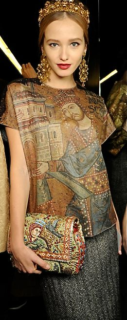This is a Dolce Gabbana inspired look from the early middle ages with the very popular embellishment and significant church illustrations.