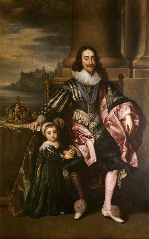 Portrait Of Charles I (1600–1649), and Prince Charles (1630–1685) by  Sir Anthony van Dyck (Flemish, 1599-1641)
