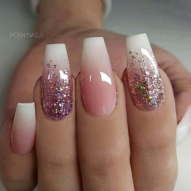 Repost French Fade And Glitter Ombre On Long Coffin Nails Picture And Nail Design By Posh Nails Nail Designs Glitter Coffin Nails Long