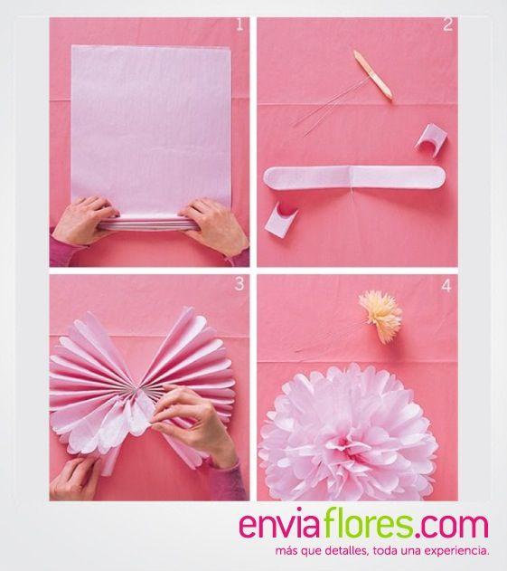 Flores con papel china ideas para manualidades pinterest - Manualidades con papel ...